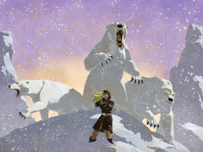 Girl with three polar bears