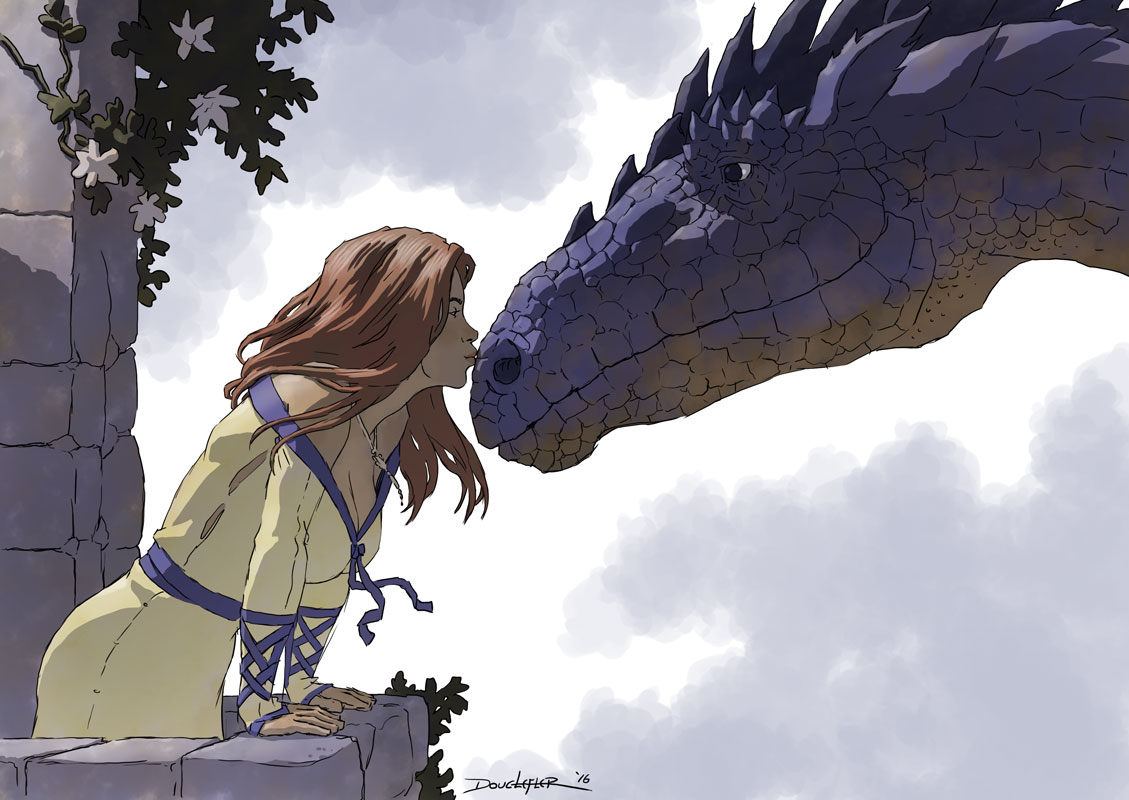 Girl and dragon