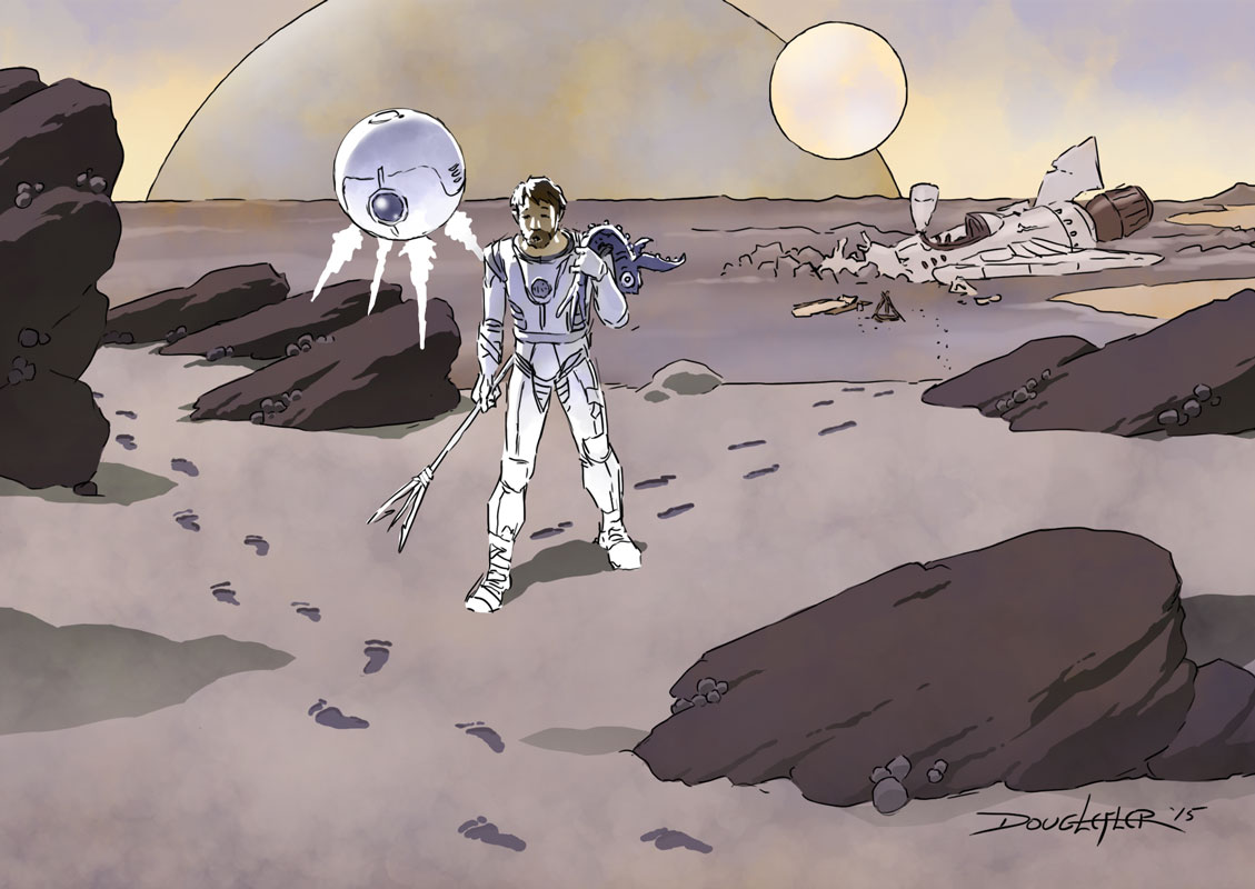 spaceman on alien planet sees footprints