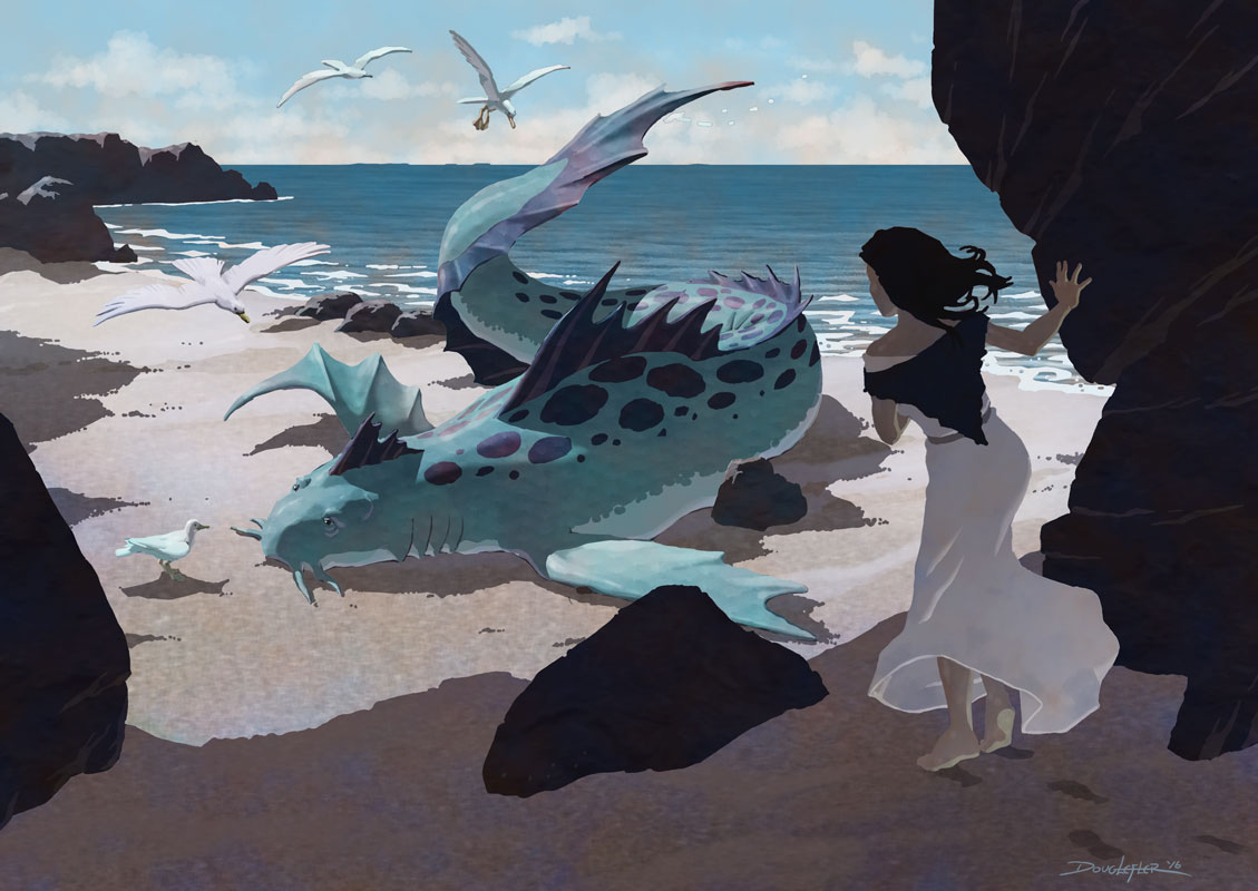 Girl finds beached sea monster