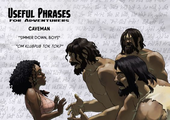Pru and three eager cavemen