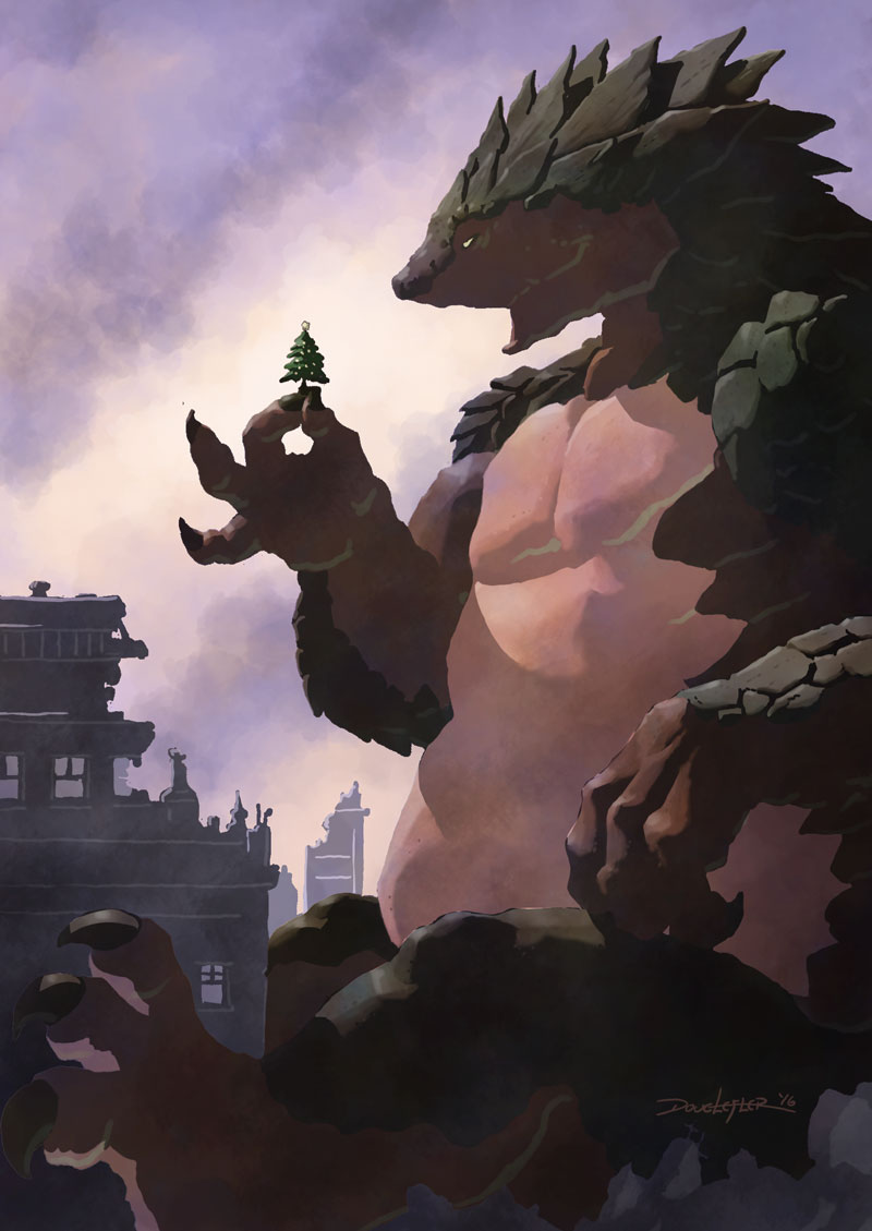 Giant monster with Christmas tree