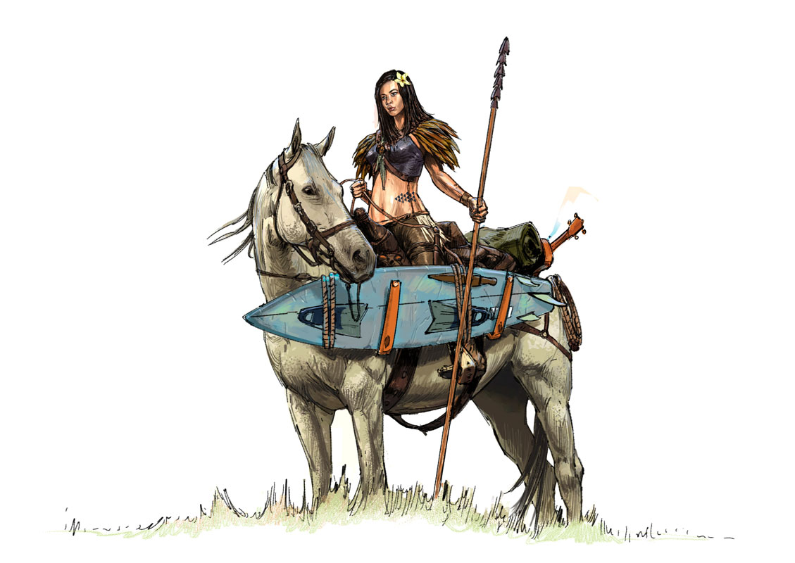 Lana on horseback with surfboard
