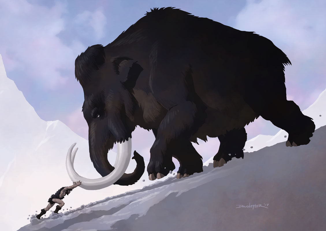 Caveman tries to push Mammoth uphill