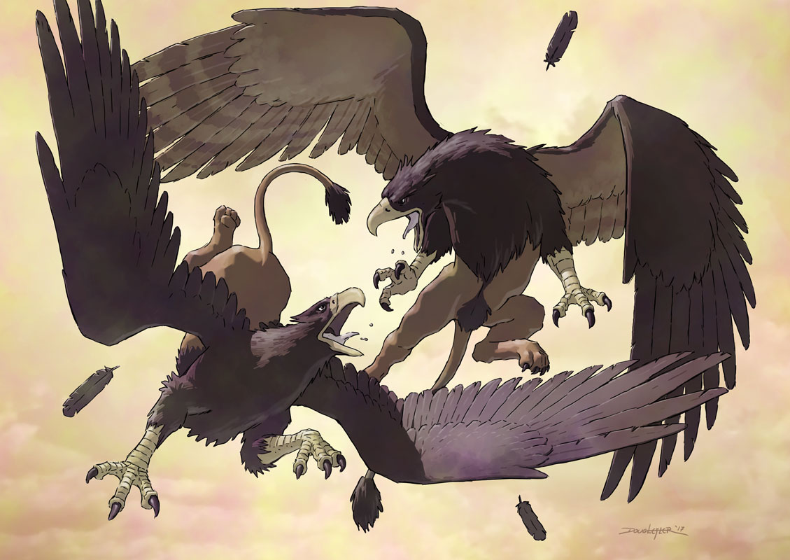 Two griffins in aerial combat