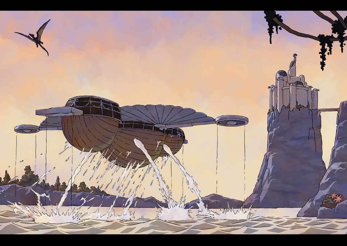 The airship rises from the water.