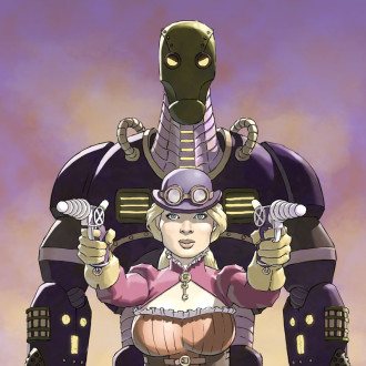 Steampunk girl with robot and ray guns