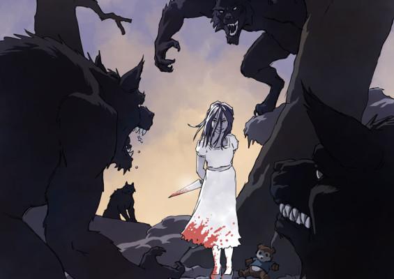 Little girl and werewolves