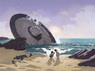 Kids on beach with crashed UFO