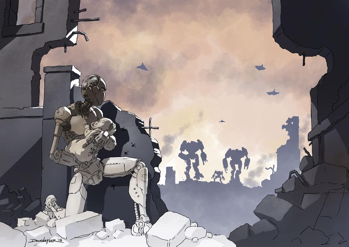 Robot saving baby after the robot uprising