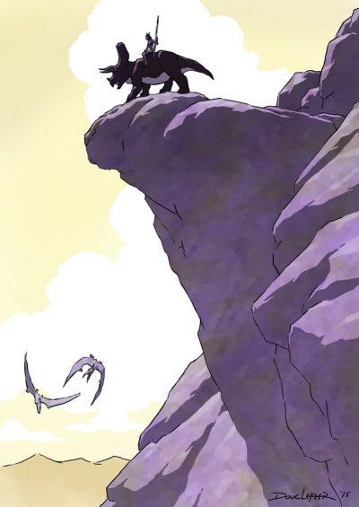 Dinosaur rider on cliff