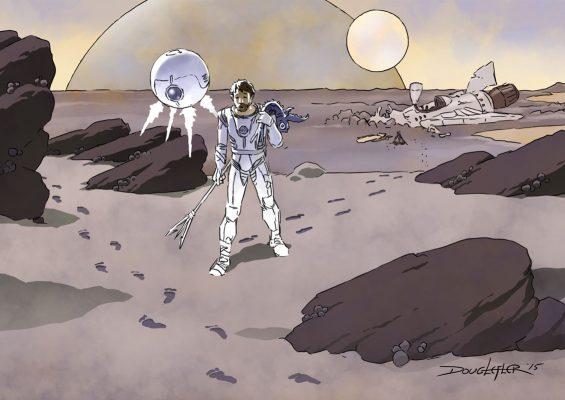 spaceman on alien planet sees footprints
