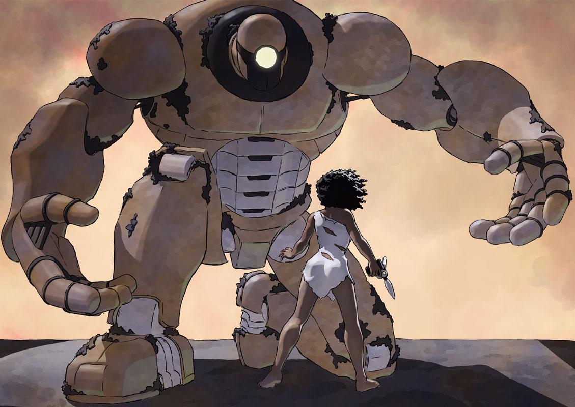 Pru, ancient robot, ray gun