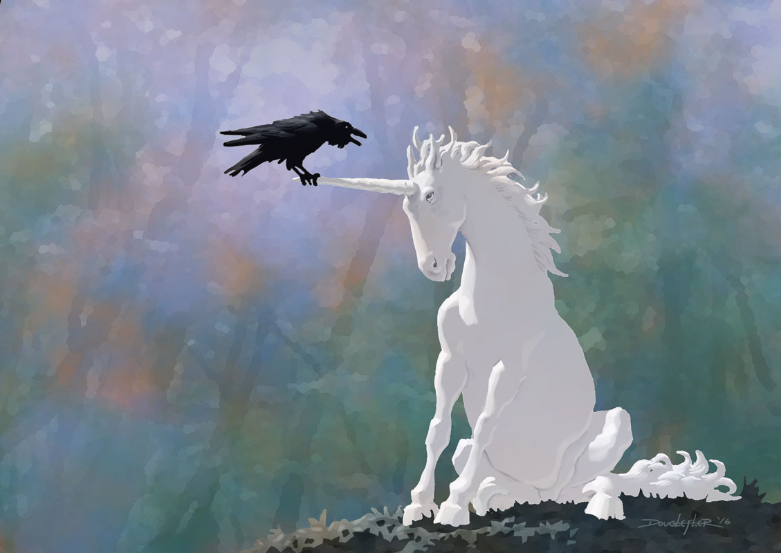 Unicorn gets advice from raven