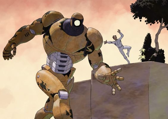 Emery Trent jumps on a giant robot.