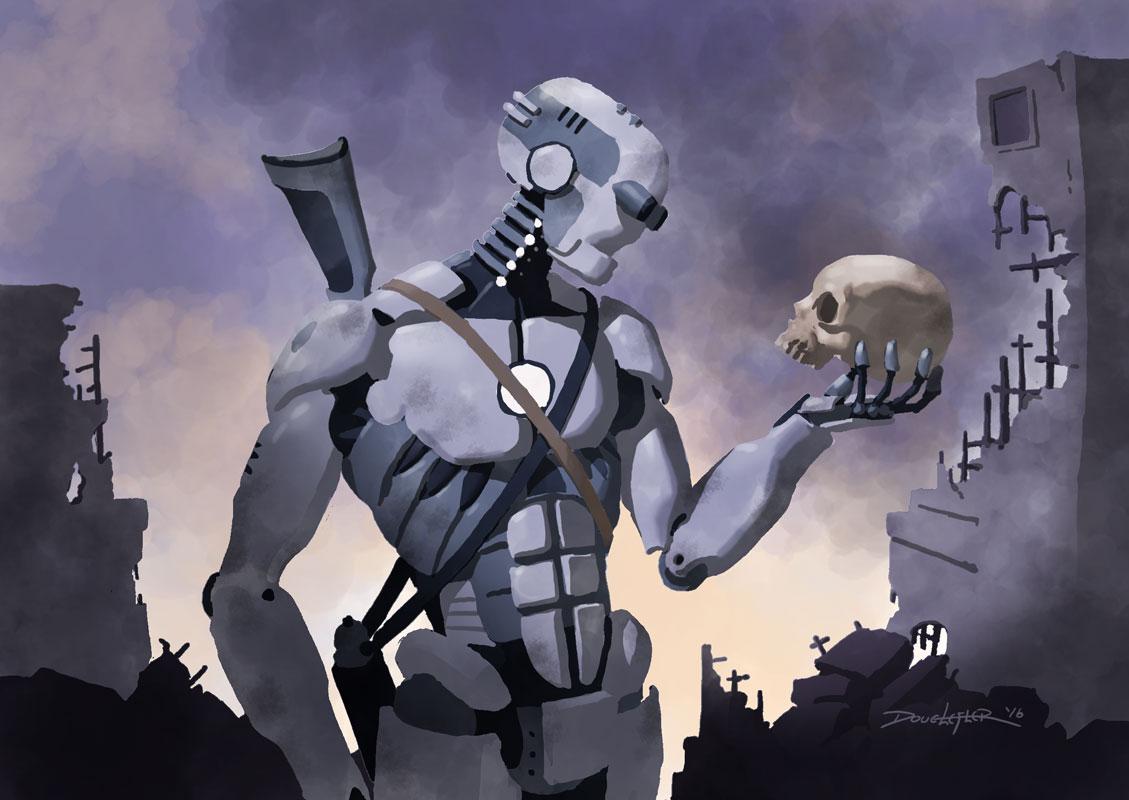 Robot contemplates human skull