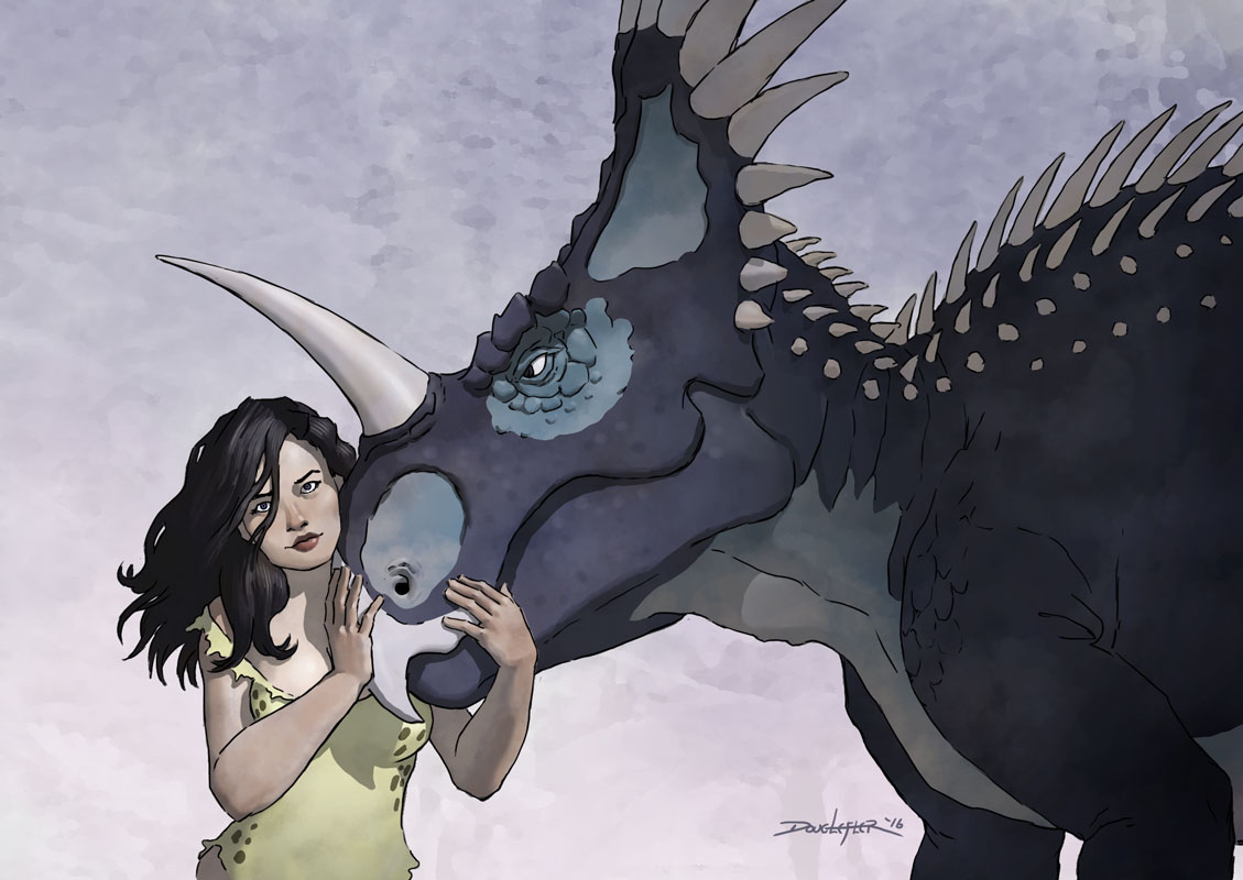 Cavegirl with Styracosaurus