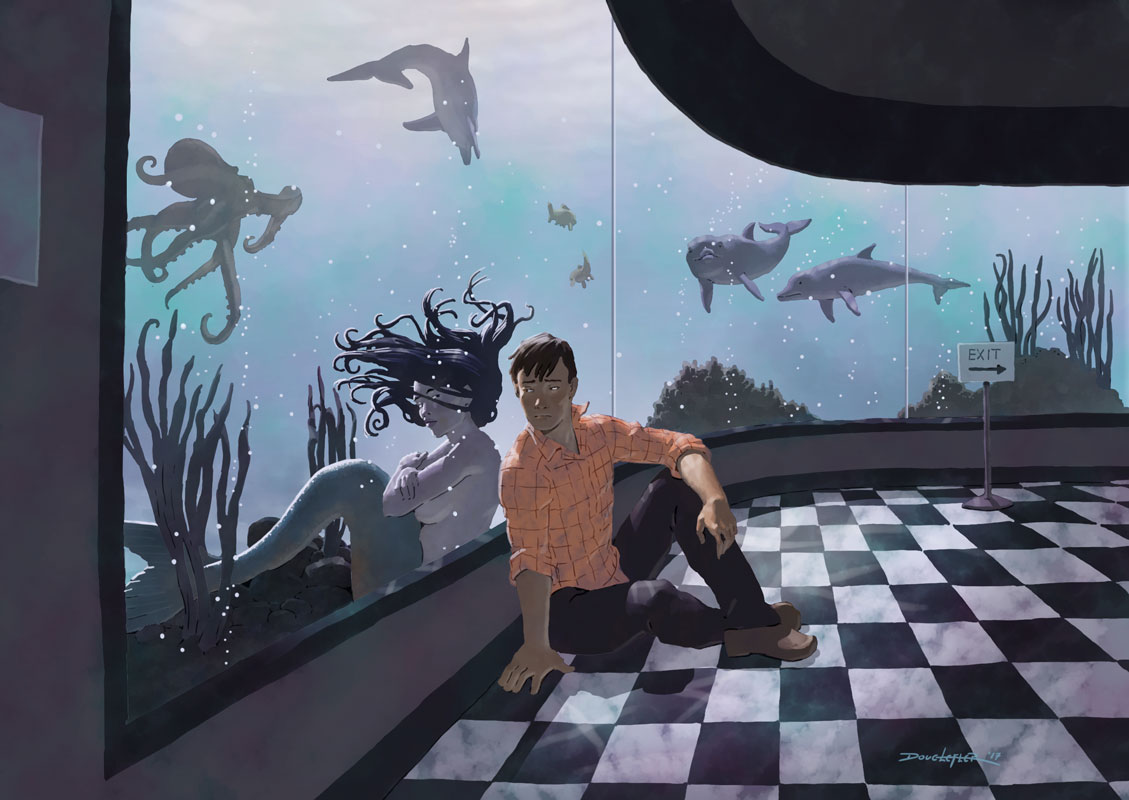 boy and mermaid in an aquarium
