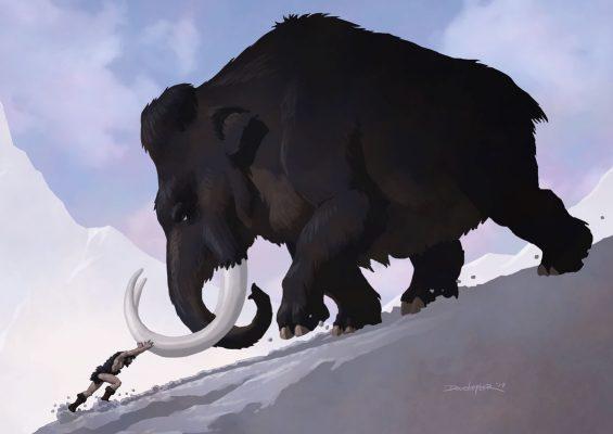 Caveman tries to push Mammoth uphill
