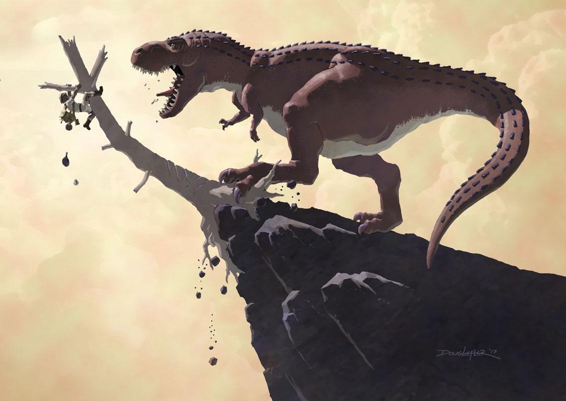 Adventurer menaced by t-rex.