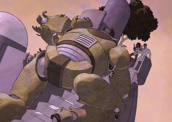 Giant Robot menaces Emery and Pru