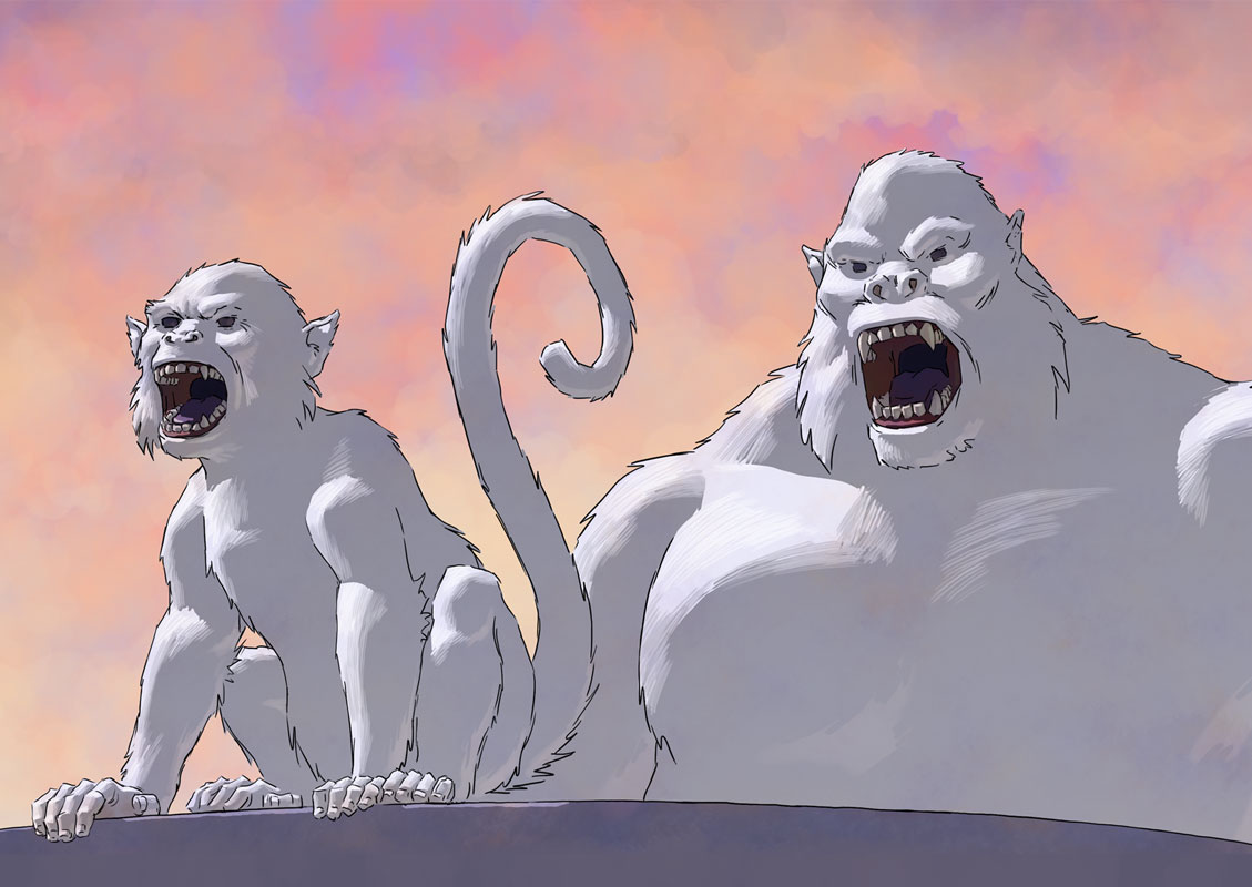 White monkey and white ape.