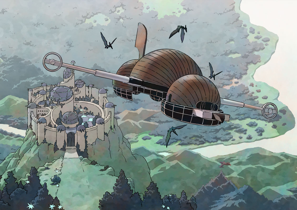 The airship leaves Alpiria.